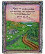 Irish Blessing May the Road Rise Up 50 x 60 Jacquard Tapestry Throw Blan... - $51.48
