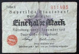 2 German Mark Bank Notes 1918, Post WWI - 1/2 Mark Nuremberg & 10 Mark  ... - $35.00