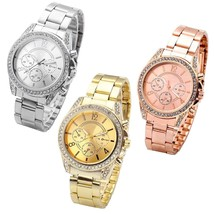 Top Plaza 3 Pcs Women's Elegant Luxury Rhinestones Watches Silver Gold Rose Gold - £25.10 GBP
