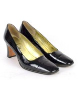Bruno Magli Luxe Glossy Black Leather Pumps Heels Shoes Womens 9 AA Narrow - $34.64