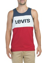 LEVI'S AUTHENTIC RIM COLOR BLOCK LOGO SLEEVELESS MEN'S NAVY BLUE TANK TO... - $29.99