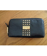 Badgley Mischka Clutch Wallet Black Leather Gold Studded Zip Around - $49.99