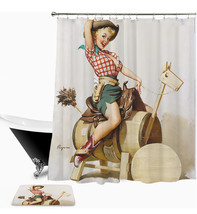 Sexy Woman 03 Shower Curtain Waterproof Polyester Fabric & Bath Mat For ... - $15.30+
