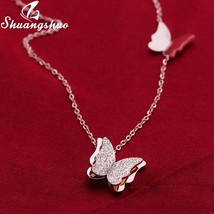 Shuangshuo Silver Necklaces For Women Butterfly Pendant Necklace Choker Fashion  - $12.02
