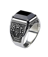 Black Obsidian Ring Vintage 100% Real Pure 925 Sterling Silver For Mens ... - $53.38
