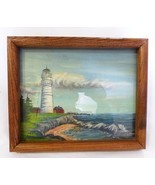 Nautical acrylic painting of lighthouse on the beach home decor sign a. ... - $43.59