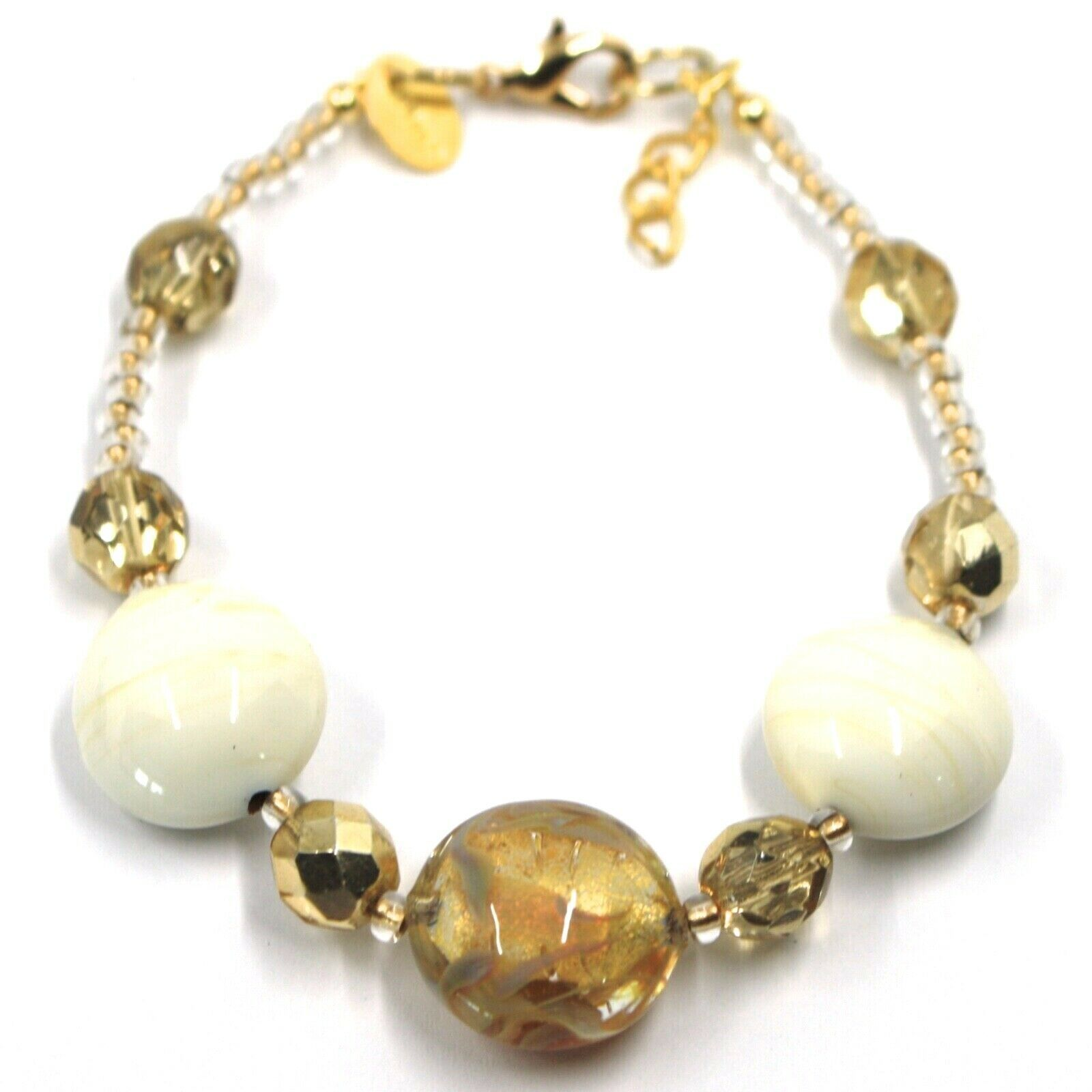 BRACELET WHITE YELLOW MURANO DISC GLASS & GOLD LEAF, MADE IN ITALY, 20cm, 7.9""