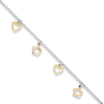 Primary image for Lex & Lu Sterling Silver Polished Gold & Rose-tone Heart Flower Anklet 9""