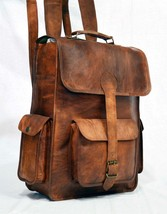 Bag Natural Leather Real Backpack Vintage Men Laptop Brown Satchel Bag - ₹4,275.37 INR+