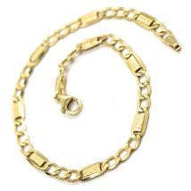 18K YELLOW GOLD BRACELET 4 MM, 7.9 INCHES, ALTERNATE GOURMETTE AND BUBBLES PLATE image 3