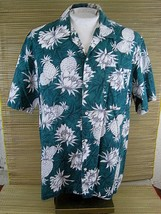 Made in Hawaii ALOHA shirt XL 26 pit to pit HAWAII BLUES cotton pineappl... - $15.67