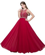 Women's Scoop Neckline Beaded Evening Gown Long Chiffon Red Prom Dresses 2018 - $125.86