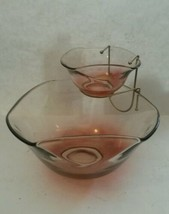 Mid Century Indiana Glass Chip & Dip 3 Piece Set Pink Clear - $25.25