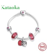 High quality Rose Pink Glass Tree of life Charms beads bracelet silver 9... - $87.56