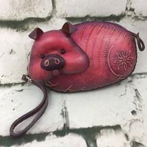 Vintage Pot Bellied Pig Themed Leather Coin Purse 3D Wristlet Wallet Col... - $39.59