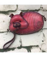 Vintage Pot Bellied Pig Themed Leather Coin Purse 3D Wristlet Wallet Collectible - $39.59