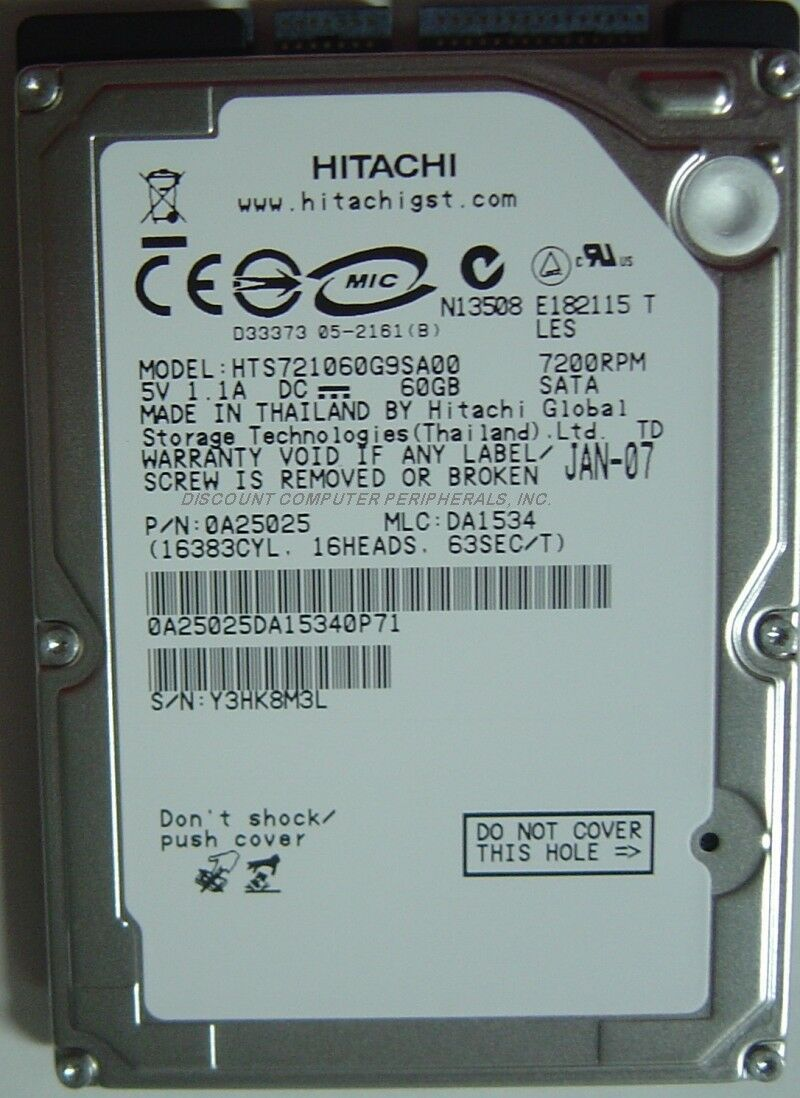 "NEW 60GB Hitachi HTS721060G9SA00 7200RPM SATA 2.5"" 9.5MM hard drive Free US Ship"