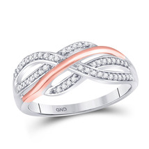 10kt Two-tone White Rose Gold Womens Round Diamond Crossover Strand Band... - $269.00