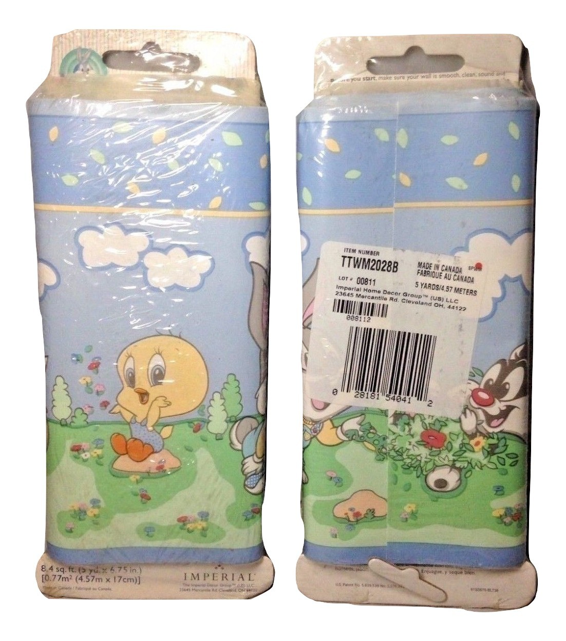 X2 Packs of VTG Looney Tunes Babies Bugs Bunny Tweety Sylvester Wallpaper Border