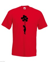 Mens Banksy Street Graffiti T-Shirt; Flying Escapism Girl with Balloons Tshirt - $24.74