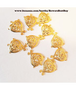 10 filigree heart charms gold plated metal 12mm x 15mm jewelry supply fi... - $2.25