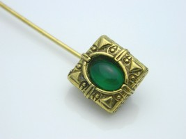 Green Aventurine Stone Gold Tone Stick Pin Vintage (A) - $7.92