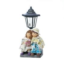 COUPLE WITH SOLAR STREET LIGHT STATUE Outdoor Decor - $22.99