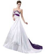 Ball Gown Purple and White Wedding Dresses,Wedding Gown,Bridal Dress,Bri... - $178.00