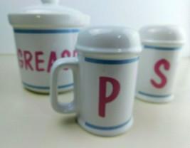 Vtg NOS SET Grease Canister Salt &Pepper Shakers Ceramic Gift Country Home - £18.95 GBP