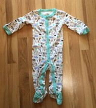 Just One You by Carters 9 M Snap Footed Sleeper LS White Print Animals Triplets - $9.99
