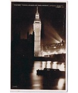 United Kingdom UK RPPC Postcard London Night Big Ben Tower Parliament - $3.90