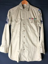 Vintage WWII 8th Army Air Force Tan Shirt Size 14/33 w/ Staff Sgt Stripe/Ribbons - $44.50