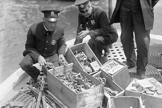 New York Police Destroy Boxes of Revolvers - Art Print - $19.99 - $179.99