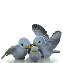 Fairy Garden Miniature Bluebird Family Ceramic Figurine Set by Hagen Renaker