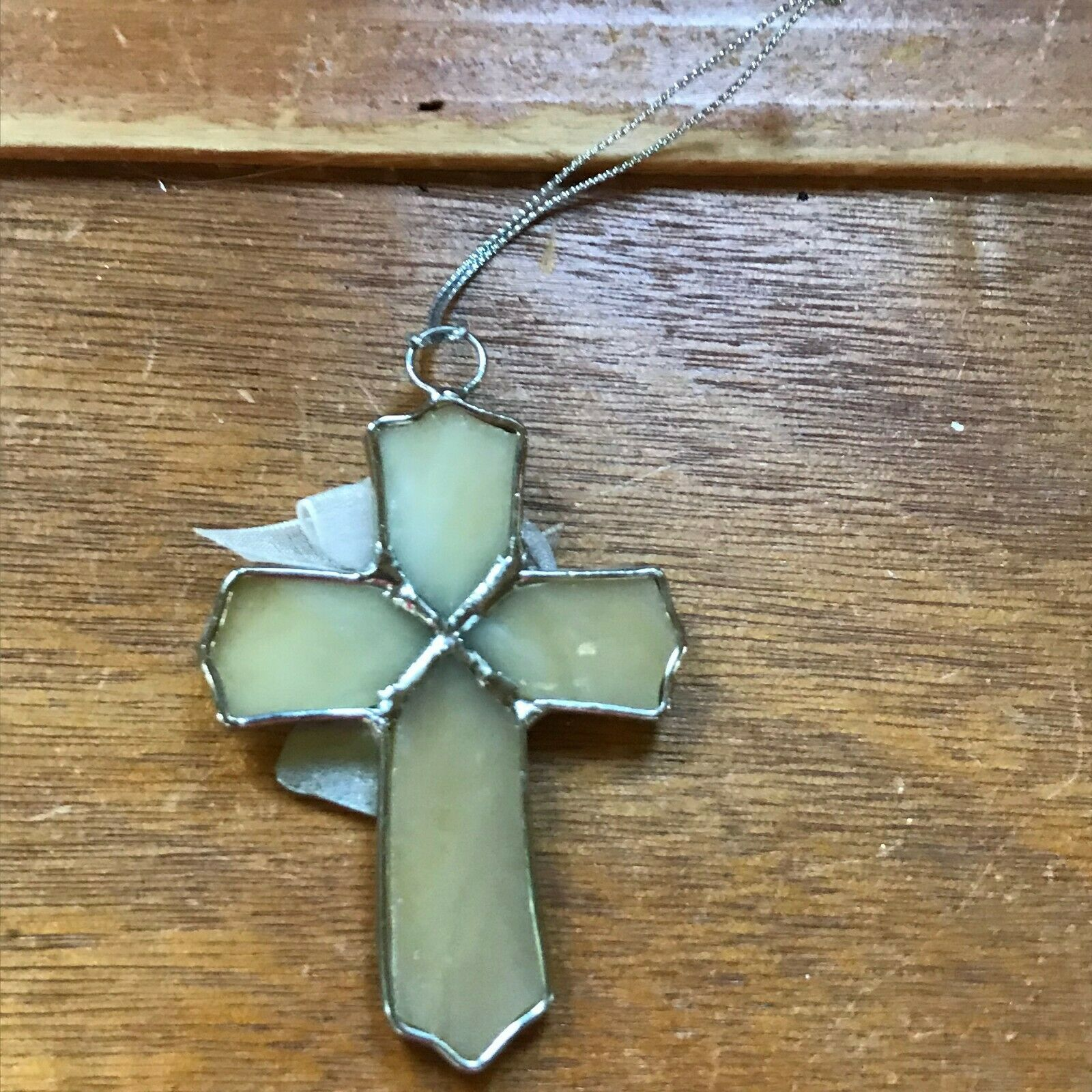 Estate Cream Glass & SIlvertone CROSS with Best Friends Charm Christmas Tree Orn image 4
