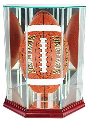 Octagon Football Display Case with Glass Top and Cherry Base - With 50% UV Prote