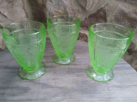 """3 Jeannette Glass Cherry Blossom Green Depression 4-1/4"""" 8 Oz Footed Tum... - $39.90"""
