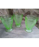 """3 Jeannette Glass Cherry Blossom Green Depression 4-1/4"""" 8 Oz Footed Tumblers  - $39.90"""