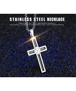 Jesus Cross Pendant Chain Stainless Steel Wire Necklaces Christian Jewelry - $12.90