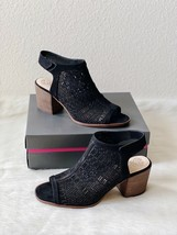 ✨New VINCE CAMUTO Keannie Laser Cutout Heel Sandals Black Nubuck Womens Size 12M - $55.41