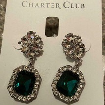 Charter Club Vintage Design Emerald GREEN/CLEAR Crystal EARRINGS**NEW!**2 Left! - $17.99