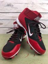 NIKE Fastflex mens 11.5 lightweight performance baseball cleats red blac... - $29.70