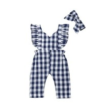 Fashion Kids Baby Girls Plaids Summer Sets Bib Pants Ruffles Fly Sleeve - $9.34