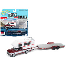 1993 Ford F-150 Red with White Camper and Chrome Open Car Trailer Limite... - $26.64