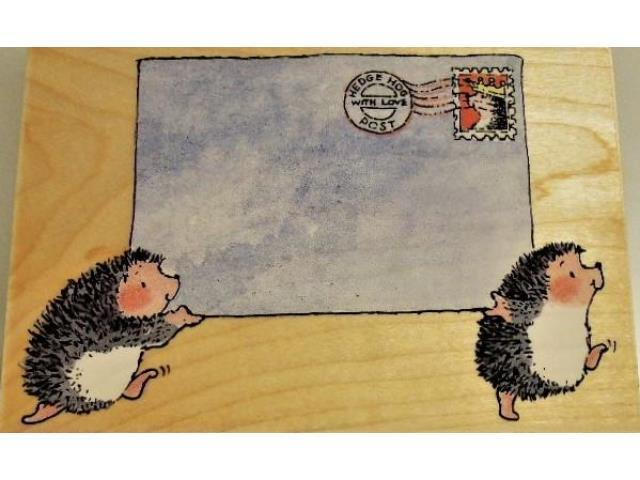 """Penny Black """"Hedgehogs Post"""" Wood Mounted Rubber Stamp-2359L"""