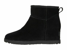 UGG Classic Femme Mini Black Women's Suede Wedge Ankle Booties 1104609 - $139.00