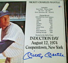 MICKEY MANTLE / AUTOGRAPHED 1974 INDUCTION DAY PHOTO ON PLAQUE / JSA FULL LOA image 2