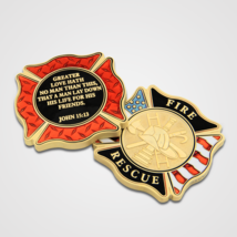 """FIRE AND RESCUE GREATER LOVE HATH NO MAN THAN THIS MALTESE 1.75"""" CHALLEN... - $18.04"""
