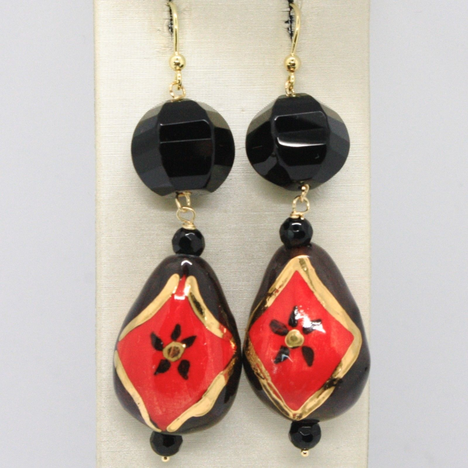 18K YELLOW GOLD EARRINGS ONYX, BLACK AND RED CERAMIC DROP HAND PAINTED IN ITALY