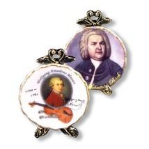 Mozart Bach Plate Set 1.400/0 Reutter Porcelain Music DOLLHOUSE Miniature - $16.87